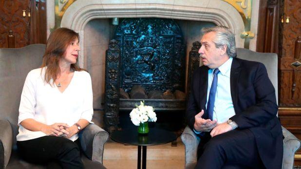 El presidente Alberto Fernández junto a la ministra de Seguridad, Sabina Frederic.