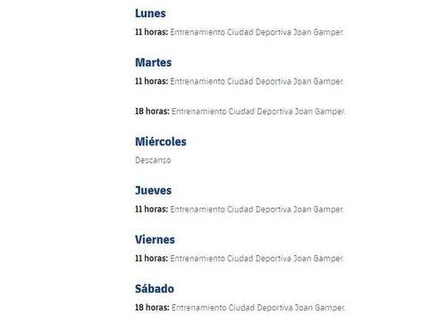 El cronograma que publicó el FC Barcelona antes de la llegada de Quique Setién