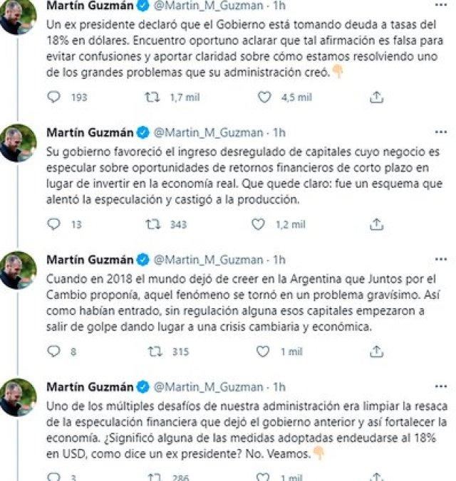 Los 4 primeros tuits del extenso hilo con que Guzmán respondió a los dichos de Macri
