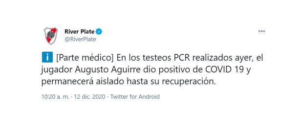parte medico river augusto aguirre