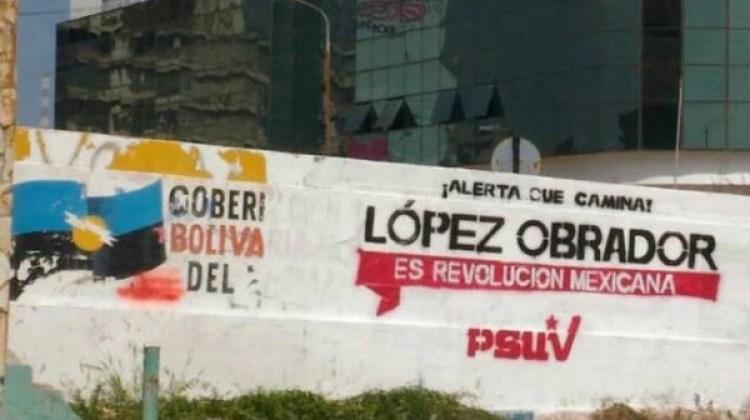 Muros de propaganda a favor de López Obrador que aparecieron en Venezuela. (Venezuela al Día)