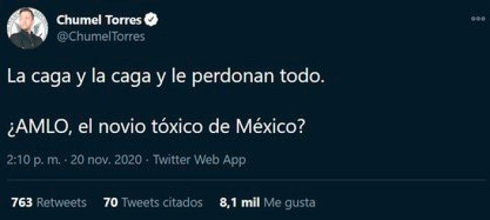 El comunicador Chumel Torres se lanzó en Twitter contra López Obrador (Foto: Twitter/@ChumelTorres)