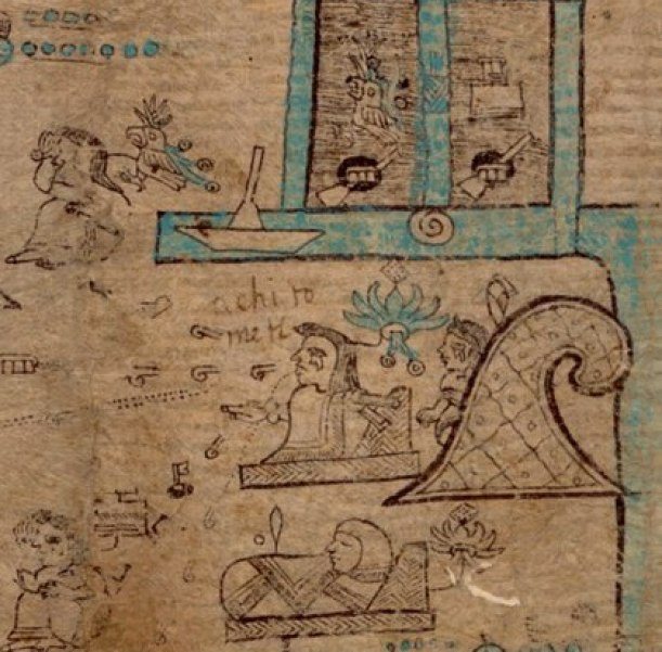 Ilancueitl on plate 3 of the Codex Xolotl, in a remote connection with Achitometl as his father Photo: (Codex Xolotl)