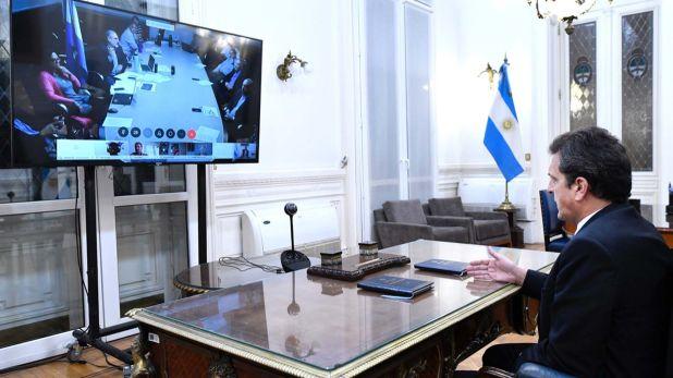 Sergio Massa durante una de las videoconferencias de la Cámara de Diputados
