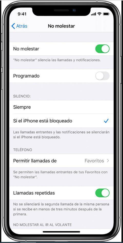 No molestar iPhone