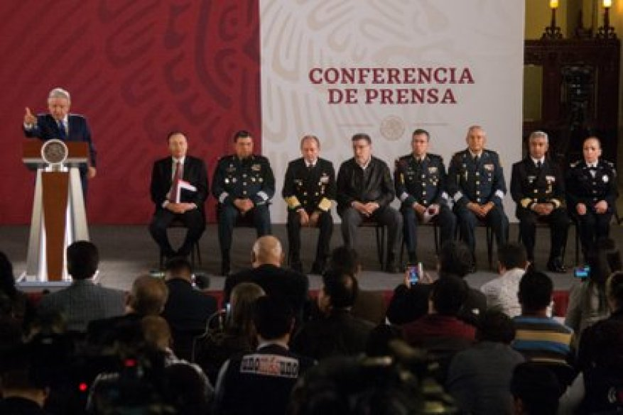 MEXICO CITY, APRIL 11, 2019.- Andrés Manuel López Obrador, president of Mexico, presented at a press conference the representatives as well as the commander of the National Guard: Luis Rodríguez Bucio, commander of the National Guard;  Xicótencatl de Azolohua Núñez Márquez, representative of the Secretariat of National Defense (SEDENA) before the National Guard;  Gabriel García Chávez, representative of the Navy, and Patricia Rosalinda Trujillo Mariel, representative of the Federal Police, during the morning press conference of the chief executive PHOTO: GALO CAÑAS / CUARTOSCURO