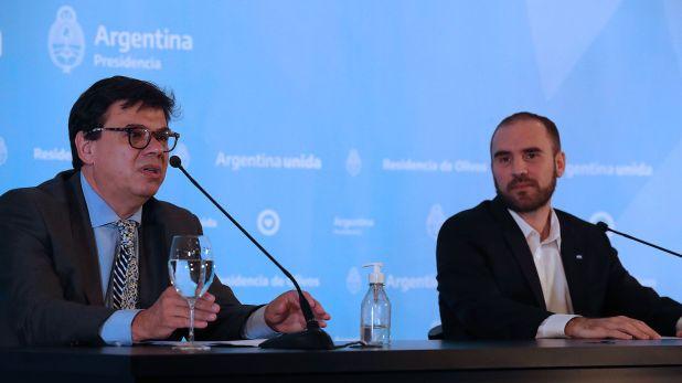 Los ministros Martín Guzmán y Claudio Moroni, el lunes, durante el anuncio del Ingreso Familiar de Emergencia (Presidencia de la Nación)