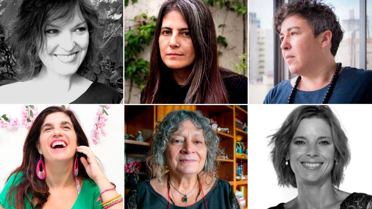 García Lao, Almada, Cabeón Cámara (arriba), Peker, Segato y Carbajal (abajo), algunas de las autoras que escriben sobre violencia de género
