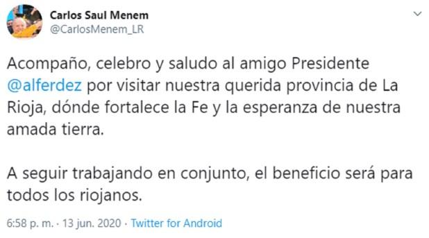 último tuit de Menem