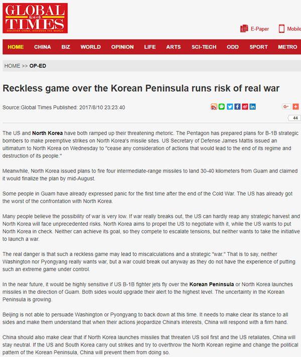 La editorial de Global Times sugiere que Pekíndebe evitar la caída de Kim Jong-un, pero no acompañar una agresión militar a Estados Unidos