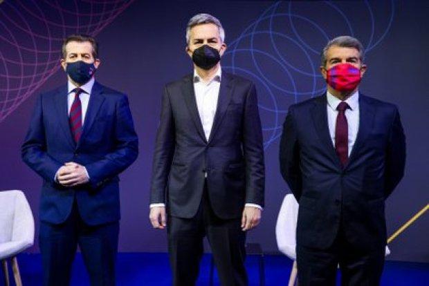 28/02/2021 Debate entre los candidatos a la presidencia del FC Barcelona; Toni Freixa, Víctor Font y Joan Laporta (de izquierda a derecha) DEPORTES FCB