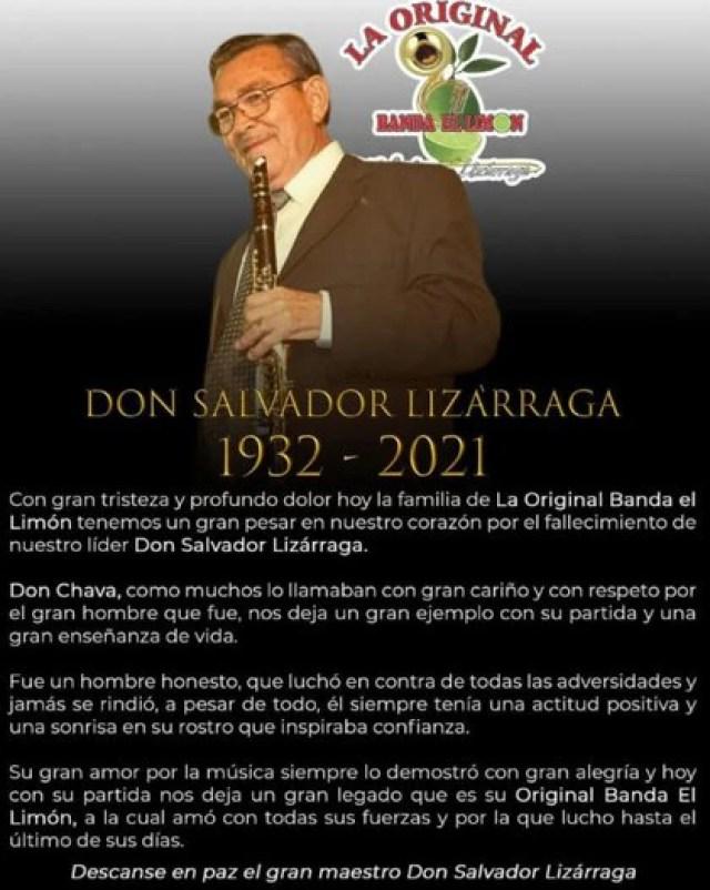 El comunicado sobre la muerte de Salvador Lizárraga