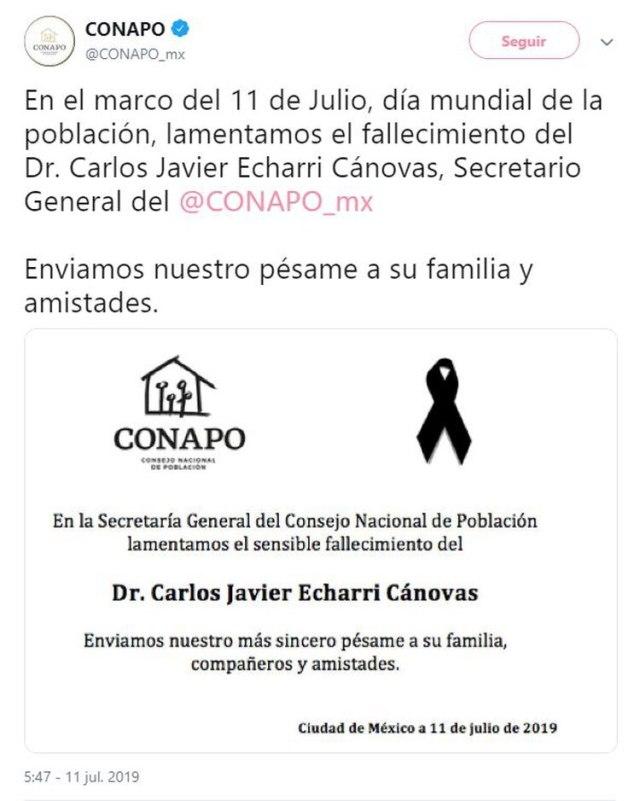 La Secretaría General del Consejo Nacional de Población (Conapo) informó que murió su titular, Carlos Echarri Cánovas (Foto: Twitter)
