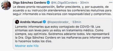 Olga Sánchez Cordero será la encargada de dirigir la conferencia de prensa matutina del presidente López Orador (Foto: Twitter)