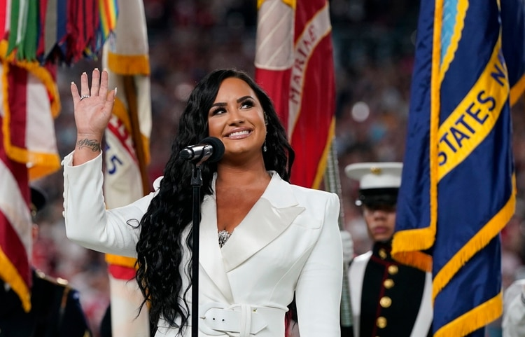 Demi, en el Super Bowl (REUTERS/Mike Blake)