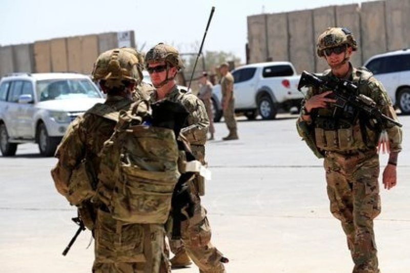 File photo of US soldiers during the ceremony of handover of the Taji military base, which was under the control of troops from the Washington-led coalition, to Iraqi security forces, in northern Baghdad, Iraq.  August 23, 2020. REUTERS / Thaier Al-Sudani