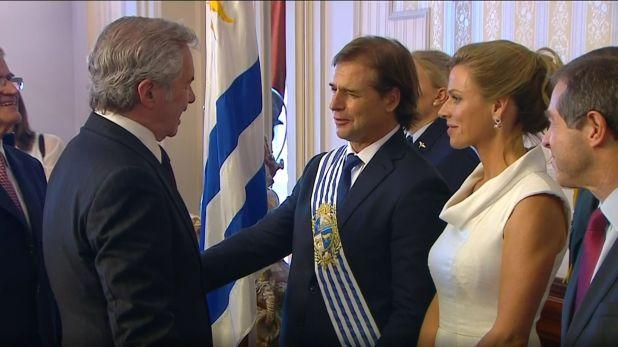 Felipe Solá en la asunción del presidente de Uruguay, Luis Alberto Lacalle Pou. (Presidencia)