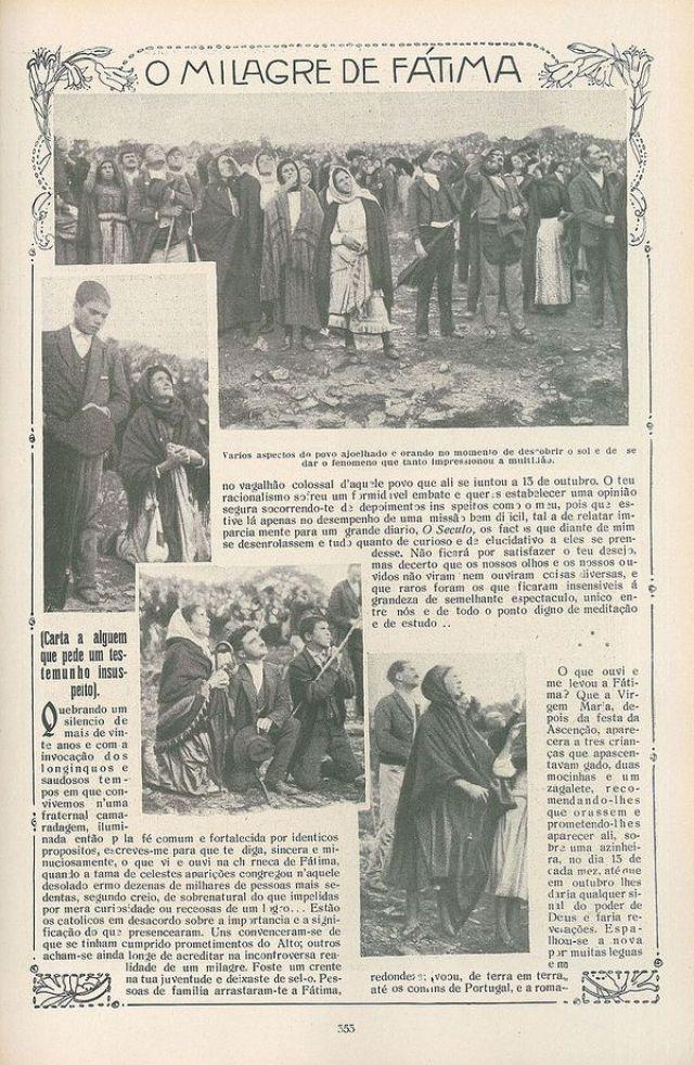 """Las crónicas de los diarios portugueses de la época dieron cuenta del """"milagro de Fátima"""""""