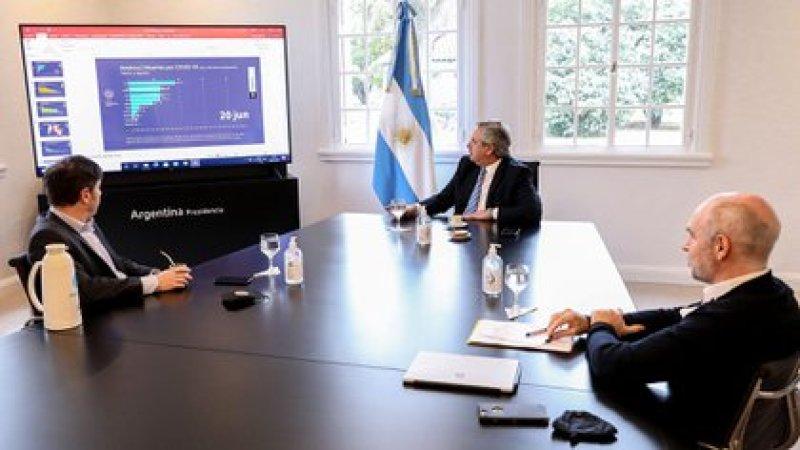 La última foto en Olivos del Presidente, el gobernador Axel Kicillof y el jefe de Gobierno