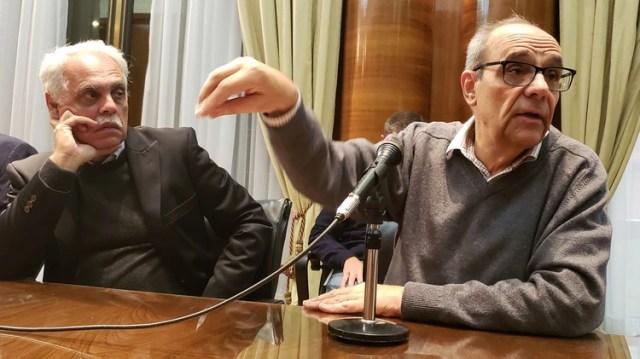 Juan Garade, secretario de Recursos Renovables y Mercado Eléctrico, y el director de Transener, Carlos García Pereira