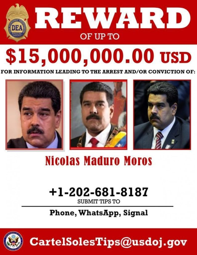 El afiche de la recompensa ofrecida por la captura de Maduro