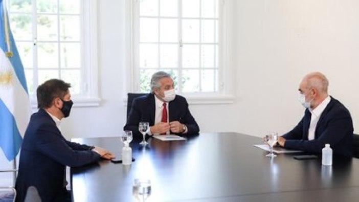Alberto Fernández, Axel Kicillof y Horacio Rodríguez Larreta en Olivos