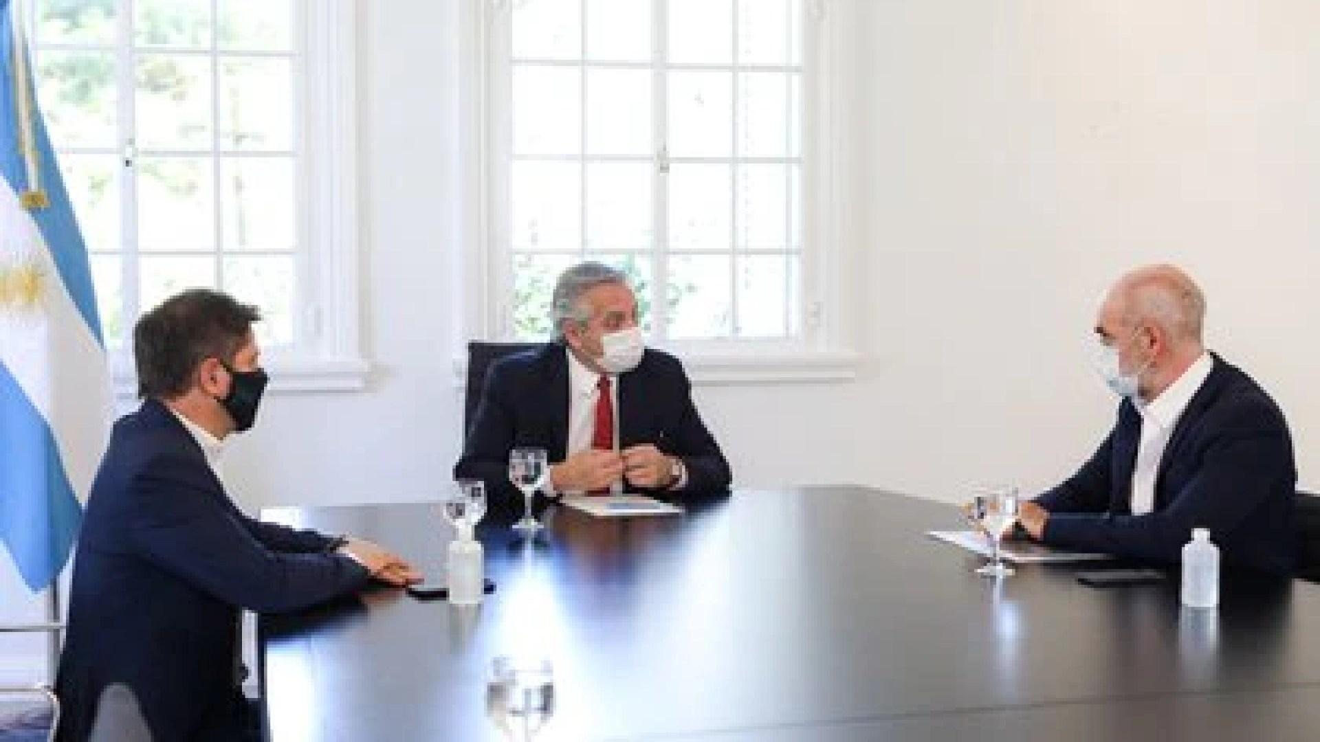 Axel Kicillof y Horacio Rodríguez Larreta se comprometieron a apoyar las medidas del gobierno nacional