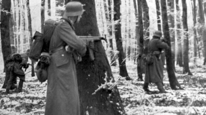 Tropas del régimen nazi en el bosque belga, portando el novedoso fusil de asalto Stg 44