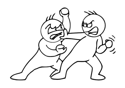 Bilde å fargelegge å slåss
