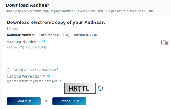 E-Aadhaar card download
