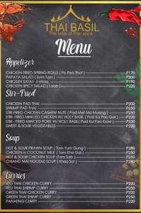 The Thai Basil Restaurant Panglao Island Bohol Philippines Menu