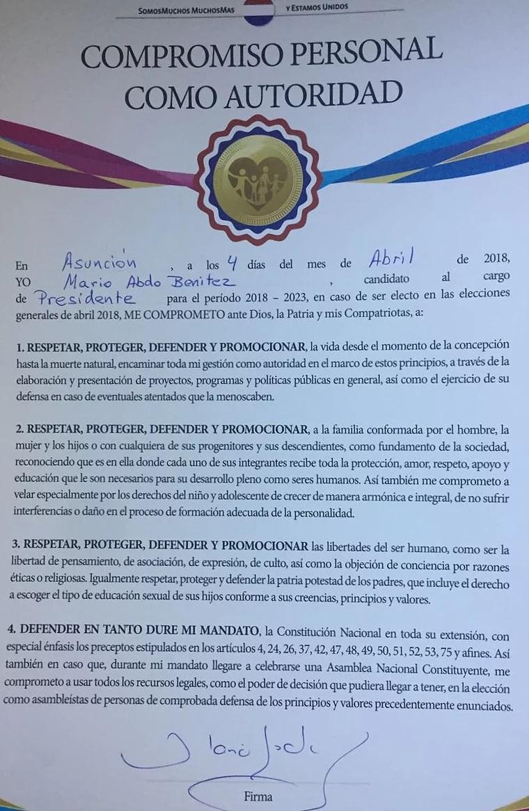 Compromiso provida presidente de Paraguay