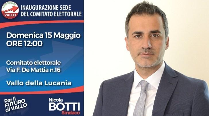 Nicola Botti, candidato sindaco di Vallo della Lucania, inaugura il suo comitato elettorale