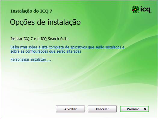 tela da instalação do ICQ 7