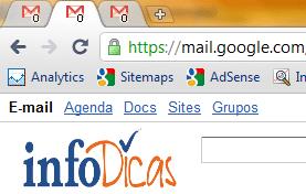 Número de mensagens não lidas sendo apresentadas no favicon do Gmail