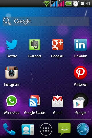 screenshot do holo launcher no LG P698f