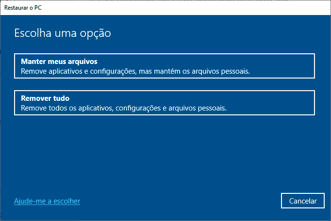Restaurar o PC no Windows 10