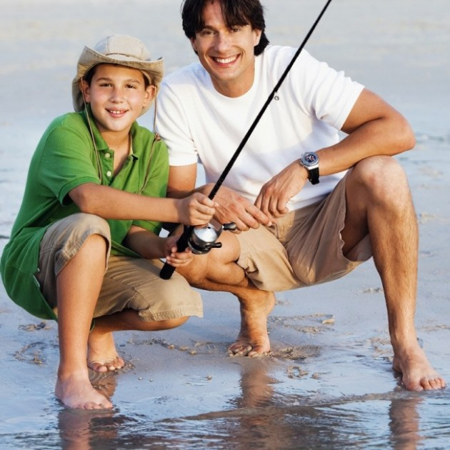 Hispanic Dad Son Fishing