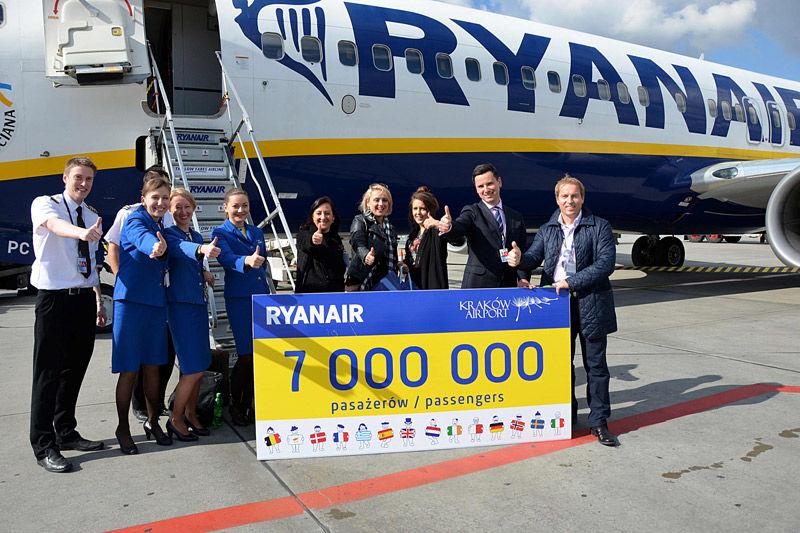 7 mln pasażerów Ryanaira w Krakowie. Fot. Kraków Airport