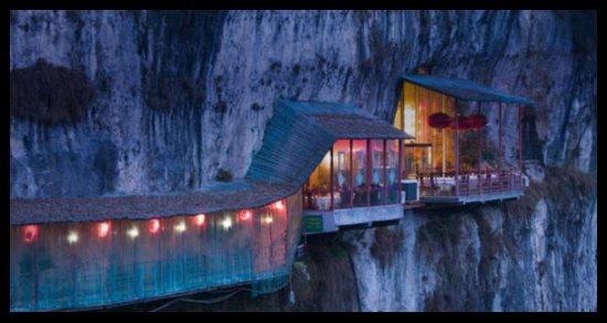 Restaurant au dessus de la rivière Chang Jiang, Chine