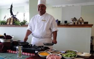 An Enra Restaurant chef cooks custom omelets at a Sunday brunch. Photo: Karen Earnshaw