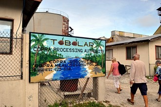 The welcome sign at Tobolar next to Delap Dock. Photo Karen Earnshaw
