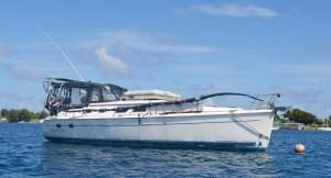 The Hunter 41' Wind Ryder moored in Majuro lagoon.