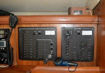 The electrical panels at the nav station.