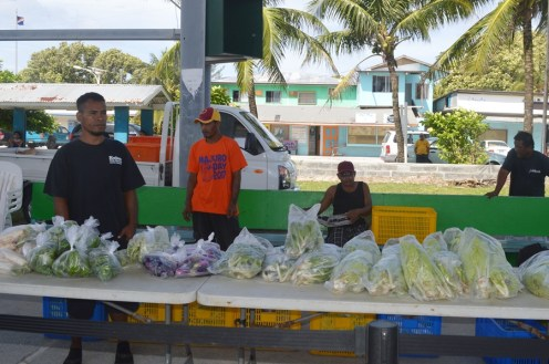 Fresh produce ready for sale at the Saturday Farmers' Market held twice a month. Photo: Karen Earnshaw