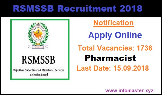 RSMSSB Recruitment 2018 | Apply Online | 1736 Pharmacist