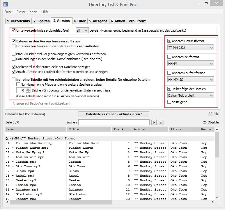 Dateiliste mit MP3-Dateien anzeigen und formatieren