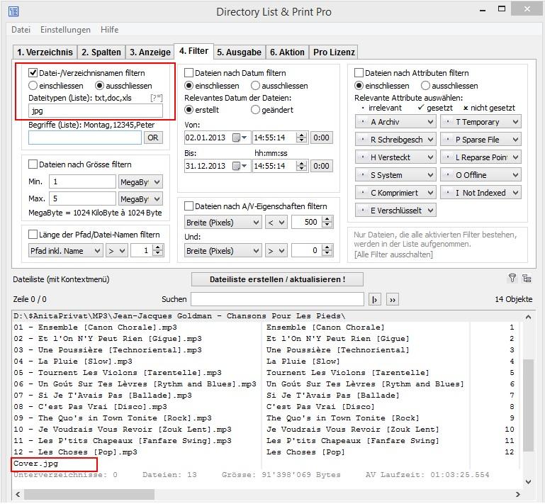 Filterfunktionen zum Erstellen der MP3-Liste