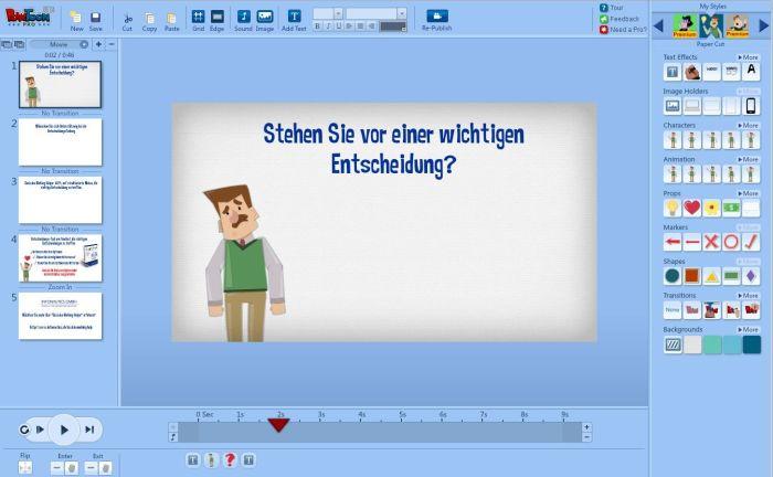 Benutzeroberfläche PowToon zum Erstellen von Videos