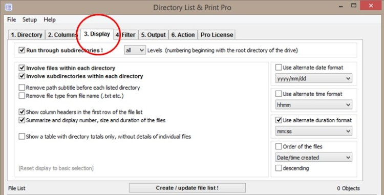 Display Directory Contents with Directory List & Print